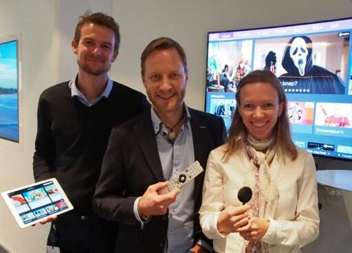 Stolte Canal Digital-ansatte. Fra venstre Marius Bjerke, i midten Kenneth Tjønndal Pettersen, og til høyre Tone Krohn Clausen. Foto: ØYVIND PAULSEN
