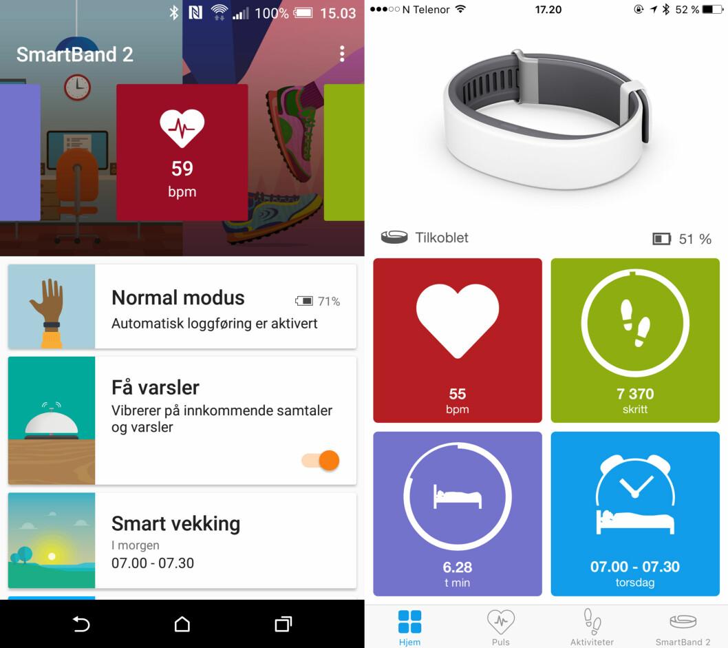 <strong><b>ROTETE:</strong></b> Ikke bare ser SmartBand 2-appene forskjellig ut på Android og iPhone, de har ikke samme funksjoner engang. Har du Android, må du faktisk installere enda en app, kalt LifeLog.  Foto: KIRSTI ØSTVANG