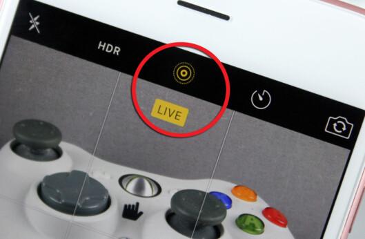 <strong><b>NYTT IKON:</strong></b> Du skrur på Live Photos-funksjonen til Apple ved å trykke på de konsentriske sirklene midt på den øverste menylinja i kamera-appen. Foto: KIRSTI ØSTVANG