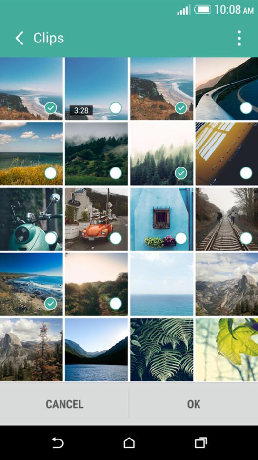 <strong><b>VELG SELV:</strong></b> Med HTC Zoe velger du selv hvilke bilder som skal settes sammen til en liten videosnutt. Foto: HTC