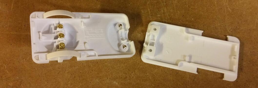 <strong><b>TO DELER:</strong> </b>To skruer holder delene sammen og sikrer strekkavlastningen.  Foto: BRYNJULF BLIX