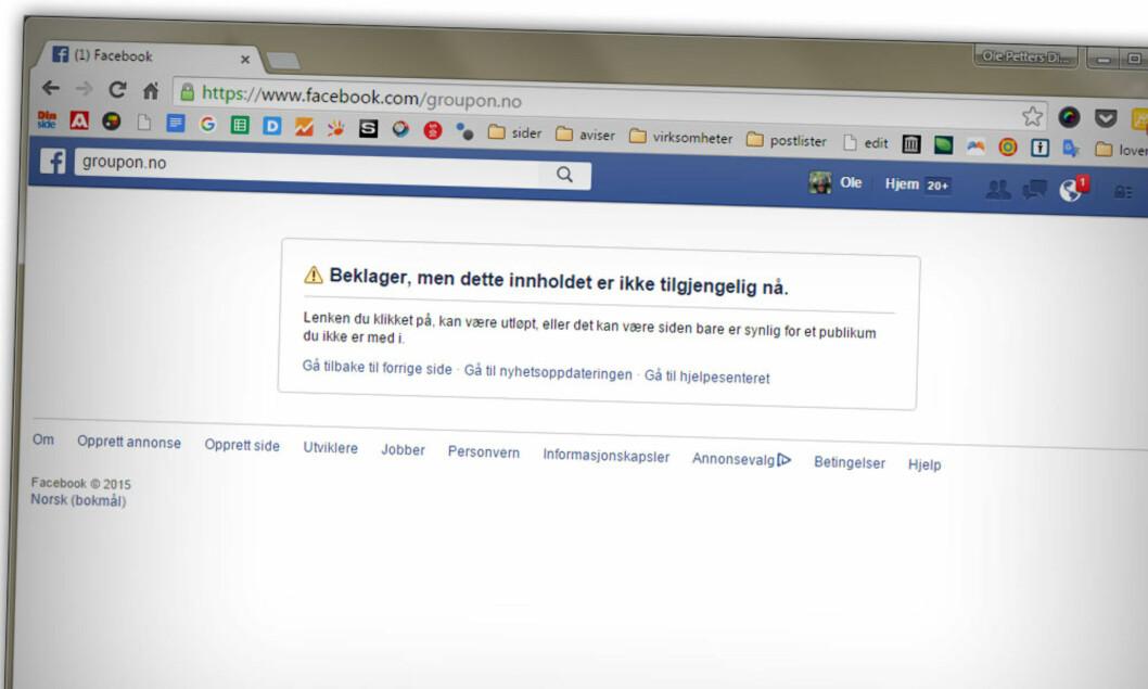 <strong><B>NEDLAGT:</strong> </b>I våre dager tyr mange til Facebook når de lurer på noe, men norske Groupon har allerede lagt ned sine norske Facebook-side.  Foto: OLE PETTER BAUGERØD STOKKE