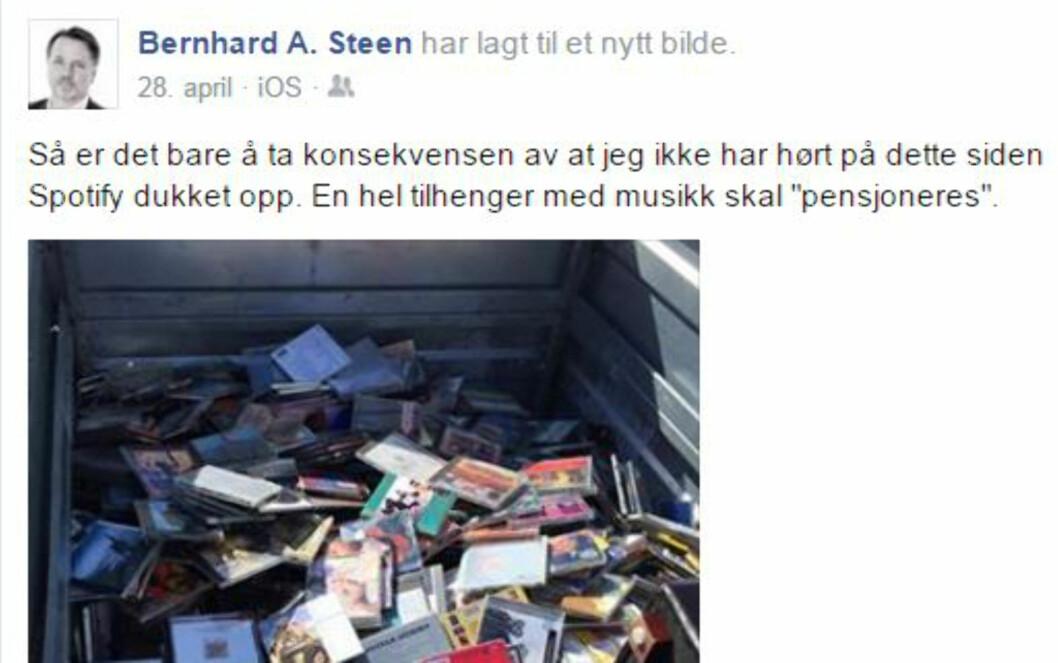 <strong><B>I TILHENGEREN:</strong></b> Vår Facebook-venn Bernhard Steen valgte å kaste hele CD-samlingen sin i vår. De som hadde lyst, fikk forsyne seg gratis. Resten havnet på fyllinga. Foto: FACEBOOK/PRIVAT
