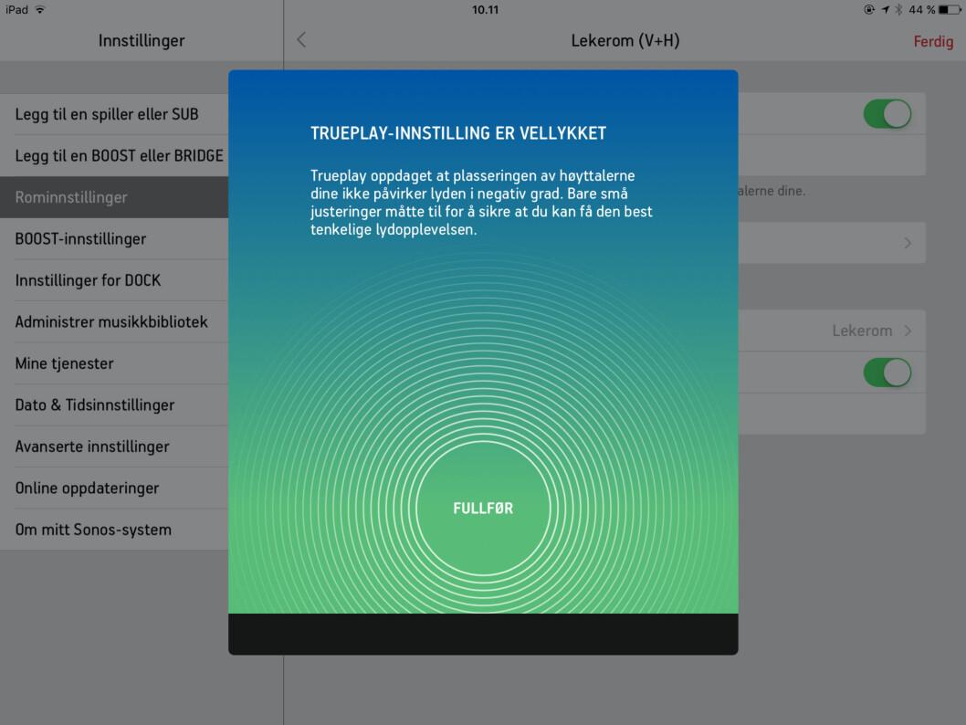<strong><b>ENKELT:</strong></B> Sonos-appen (finnes for Android, iOs, PC og Mac) forklarer deg hele tiden hva som skjer. Foto: TORE NESET