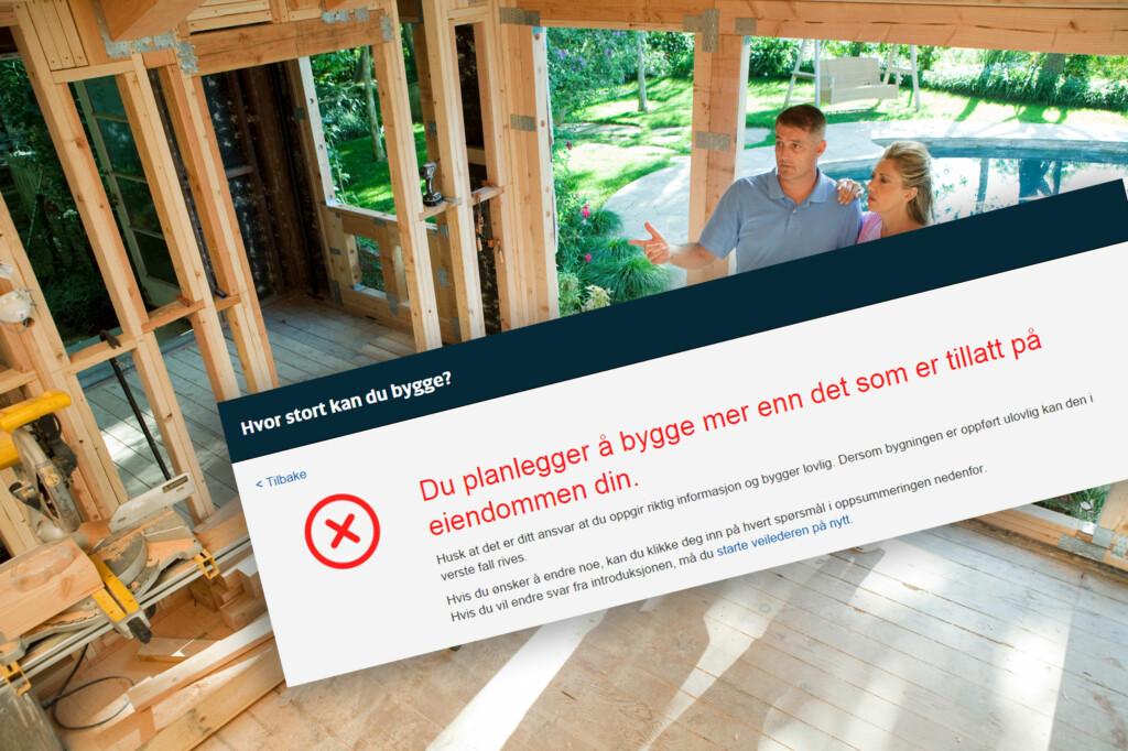 <b>NEI, DET BLIR FOR MYE:</b> Ny nettjeneste skal gjøre det enklere for deg å sjekke hvor mye du kan bygge på tomta di. Foto: FOTOLIA/NTB SCANPIX/KRISTIN SØRDAL