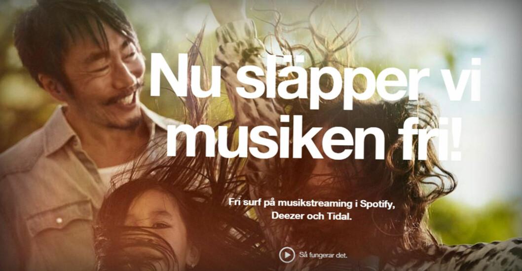 <strong><b>IKKE LOV I NORGE:</strong> </B>Mobiloperatøren 3 i Sverige tilbyr musikkstrømming på enkelte tjenester uten at det tar av datakvota. Dette er i strid med de norske reglene rundt nettnøytralitet. Foto: OLE PETTER BAUGERØD STOKKE