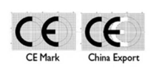 """<b>SER DU FORSKJELLEN?</b> CE-merket til venstre, merket for """"China Export"""" til høyre."""