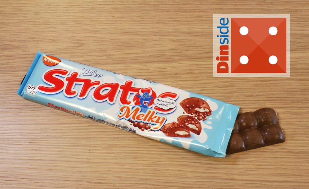 <strong><b>NIDAR:</strong> STRATOS MELKY:</b> Sjokoladeplaten er god, men litt tam på smak. Foto: MERETHE HOMMELSGÅRD