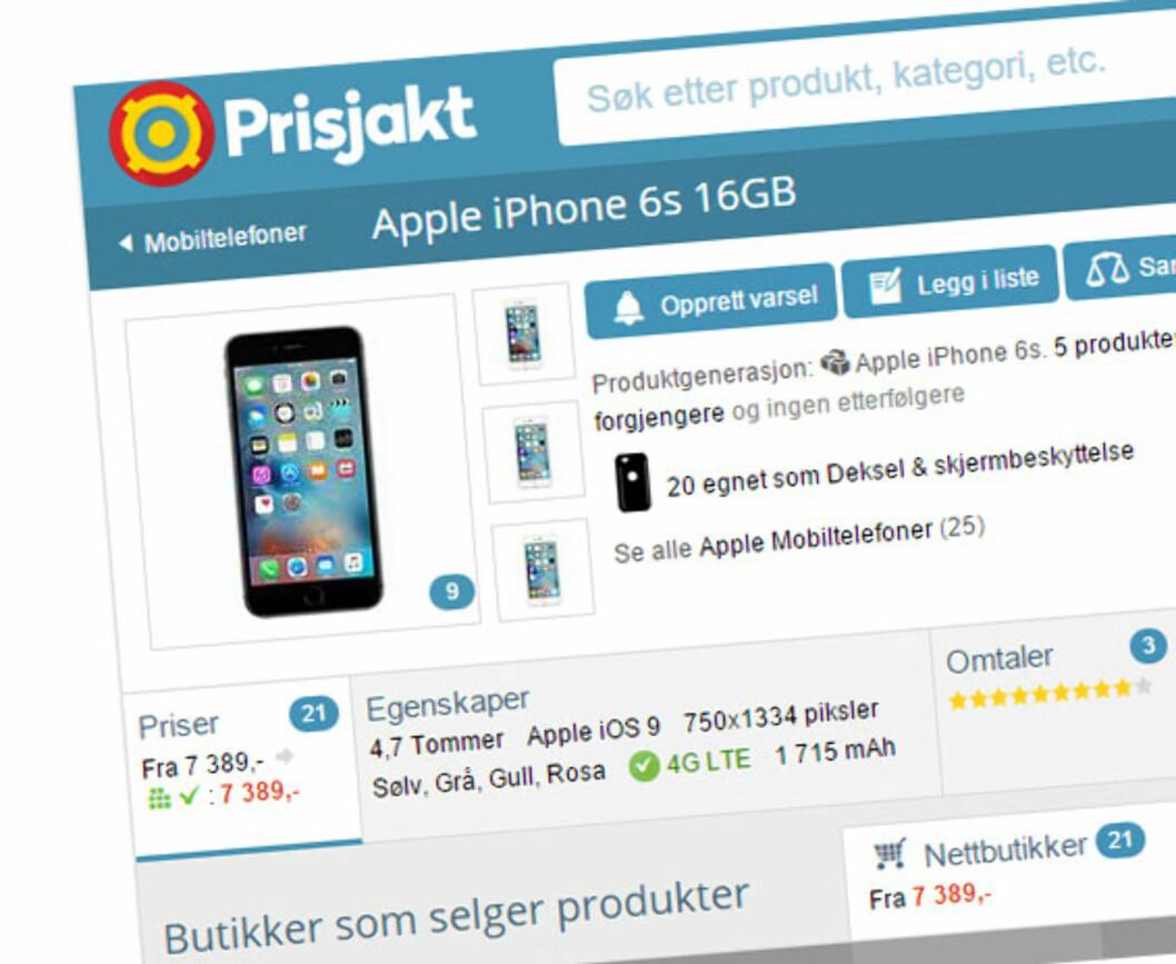 Ifølge Prisjakt må du ut med minium 7.389 kroner for den nye iPhonen.