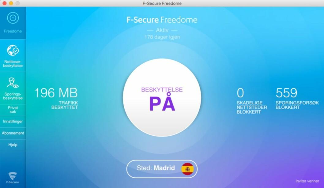 <strong><strong>I SPANIA:</strong></strong> Med VPN-tjenesten Freedome fra F-secure (og mange andre) kan du late som om du befinner deg et helt annet sted på kloden.