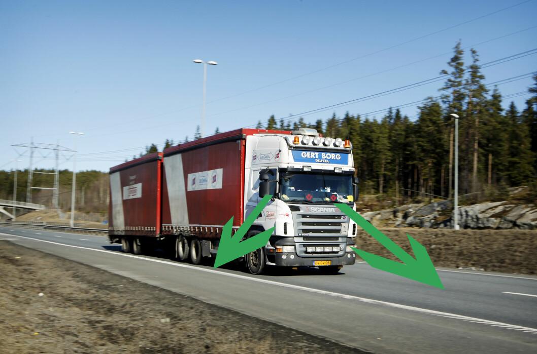 <strong><b>LANG BLINDSONE:</strong></b> Lastebilen har mye mindre utsyn enn biler. Med en blindsone foran på 5 meter, 8 meter på siden og tilsvarende lastebilens lengde bak, er det viktig å samarbeide i trafikken for alles sikkerhet.  Foto: NTB SCANPIX/MAGNUS ARNKVÆRN