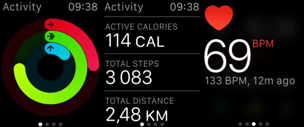 <strong><b>HELSE OG TRENING:</strong></b> Som smartklokker flest kan Apple Watch spore din daglige aktivitet og måle pulsen din. Foto: KIRSTI ØSTVANG