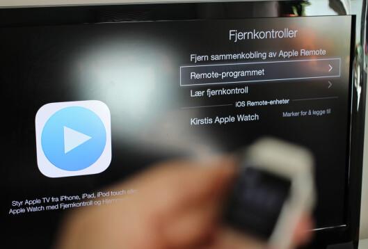 <strong><b>KOBLE SAMMEN:</strong></b> Du må inn i Apple TV-innstillingene for å legge til Apple Watch som fjernkontroll. Foto: KIRSTI ØSTVANG
