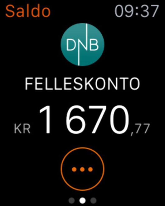 <strong><b>SMARTKLOKKE-BANK:</strong></b> DnB er blant bankene som har app til Apple Watch. Foto: KIRSTI ØSTVANG