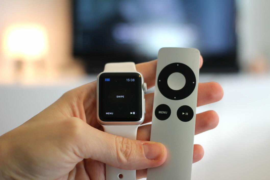 <strong><b>STYRE APPLE TV:</strong></b> En av tingene du kan gjøre med Apple Watch er å styre Apples TV-boks. Perfekt for deg som alltid roter vekk den lille aluminiums-fjernkontrollen? Foto: KIRSTI ØSTVANG