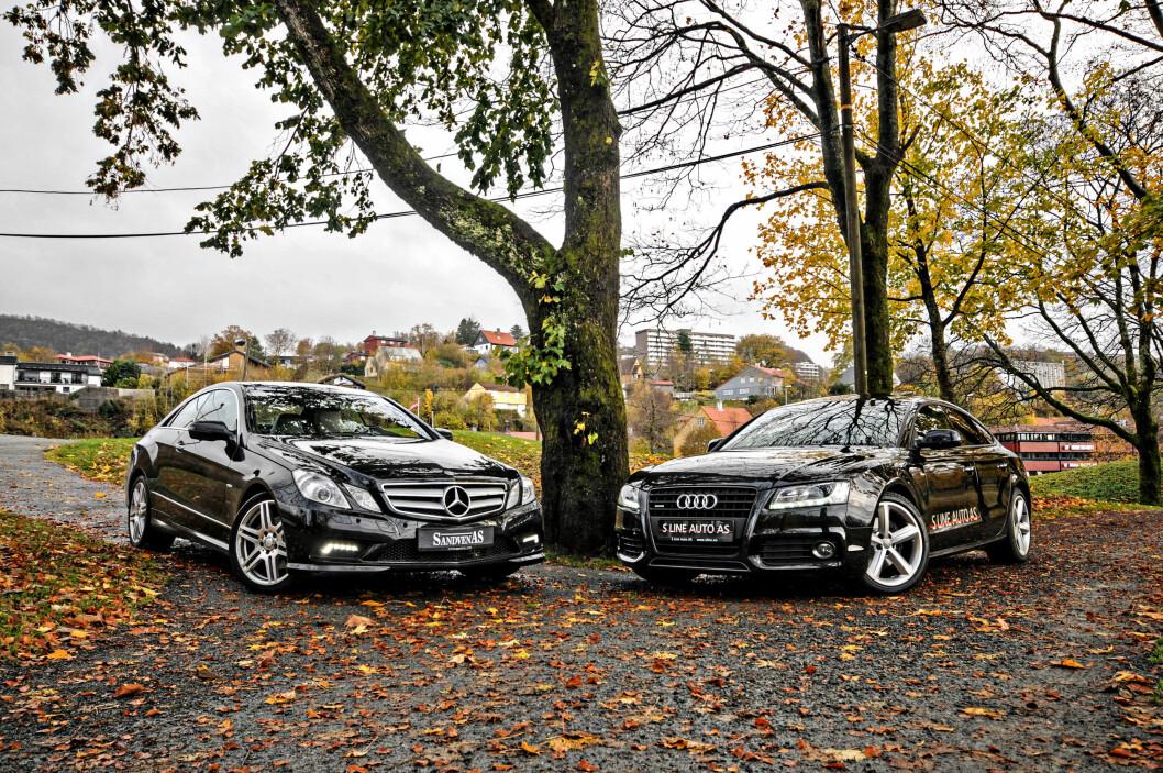 <b>KONKURRENTENE:</b> Det er duket for duell, og Mercedes E-klasse møter Audi A5 i ringen!  Foto: Kaj Alver