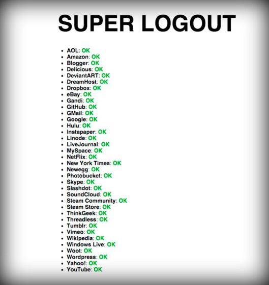 <strong><strong>36 tjenester:</strong></strong> Besøker du nettsiden Super Logout blir du umiddelbart logget ut fra 36 nettjenester.