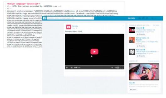 <strong><strong>«SHADY»:</strong></strong> Dette er et eksempel på et nettsted som ble erklært «shady» i Blue Coats rapport. Nettsiden inneholder uhumske skript og lurer brukeren til å klikke på noe som angivelig er en Facebook-video.