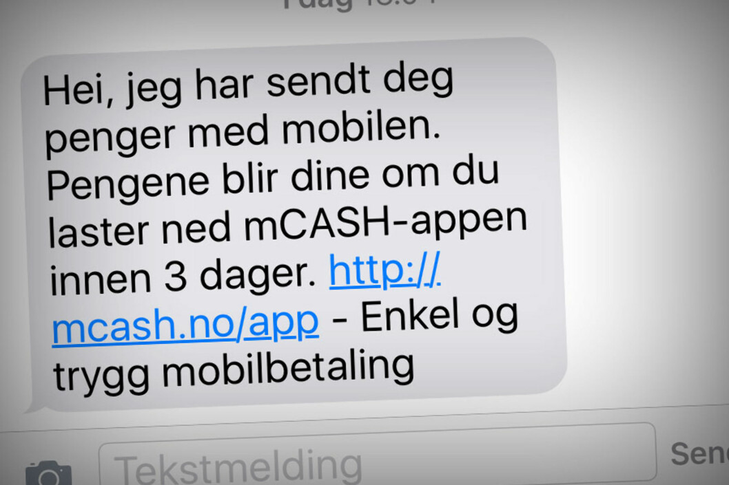 <strong><b>Å, NEI:</strong> </B>Det er slike tekstmeldinger du vil unngå. Har ikke mottaker samme app som deg, må hun først laste den ned og registrere esg.  Foto: OLE PETTER BAUGERØD STOKKE