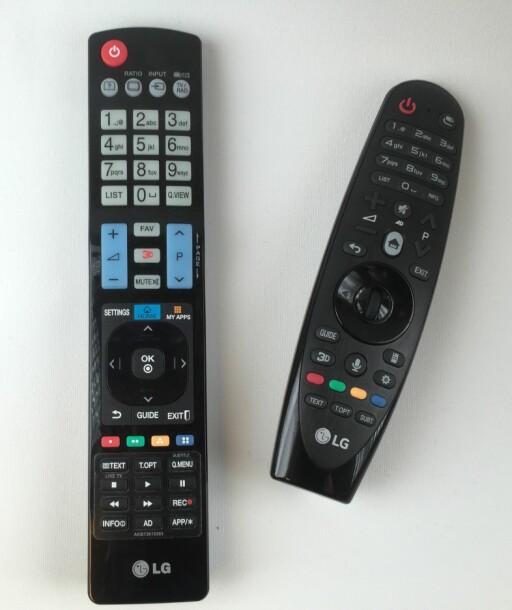 FJERNKONTROLLENE: Den klassiske LG-kontrollen til venstre, Magic Remote til høyre. Foto: ØYVIND PAULSEN