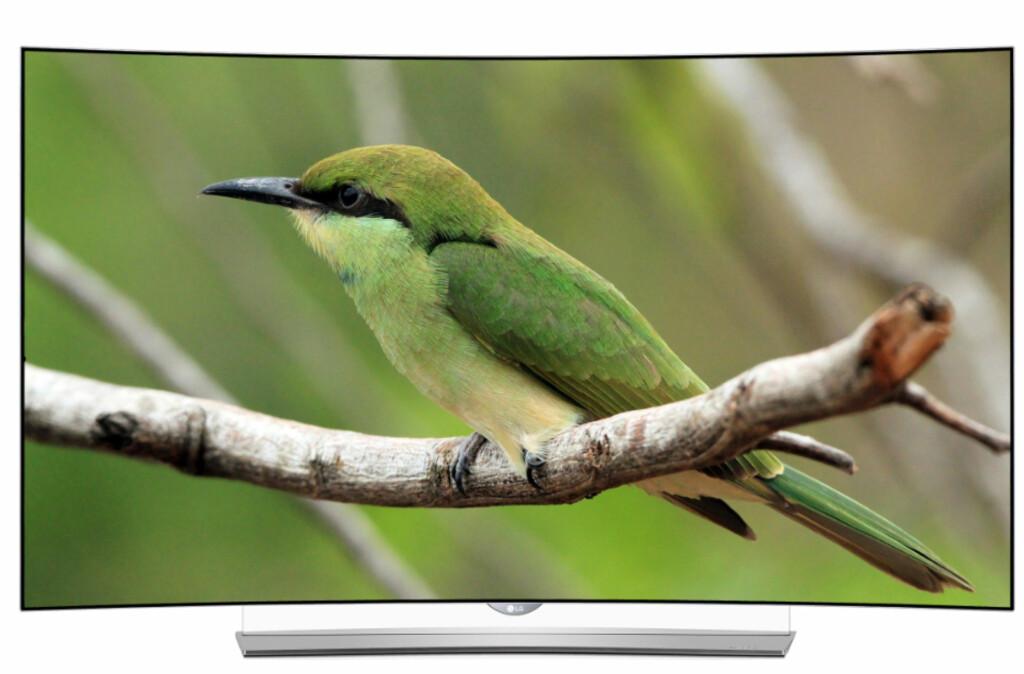 Stilrent design: Med en liten TV-ramme og en helt hvit bakside vil den vekke oppsikt i de tusen hjem.  Foto: LG
