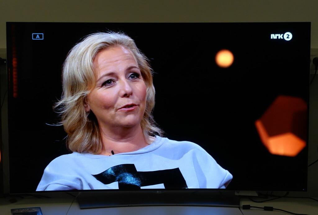 <b>TV-SENDINGER:</b> Er inngangskilden av ok kvalitet, blir også det oppskalerte TV-bildet bra. Her Linn Skåber på NRK. Foto: ØYVIND PAULSEN