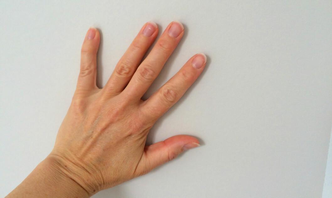 <strong><b>SUPER TAPETSLETTER:</strong></b> Hånda er en super tapetsletter. Da kjenner du også godt dersom det har kommet luftlommer. Foto: KRISTIN SØRDAL