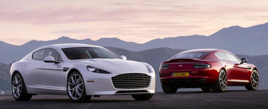 <strong><b>El-Rapide:</strong> </b> Innen to år sier Aston Martin at de skal ha en helelektrisk Rapide på markedet. Foto: ASTON MARTIN