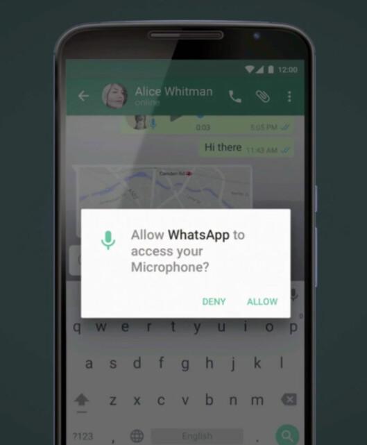 <strong><strong>SPØR NÅR DE TRENGER:</strong></strong> I stedet for at du må akseptere en haug av app-tillatelser når du laster dem ned, blir du i Android M spurt når appen trenger det. Foto: GOOGLE