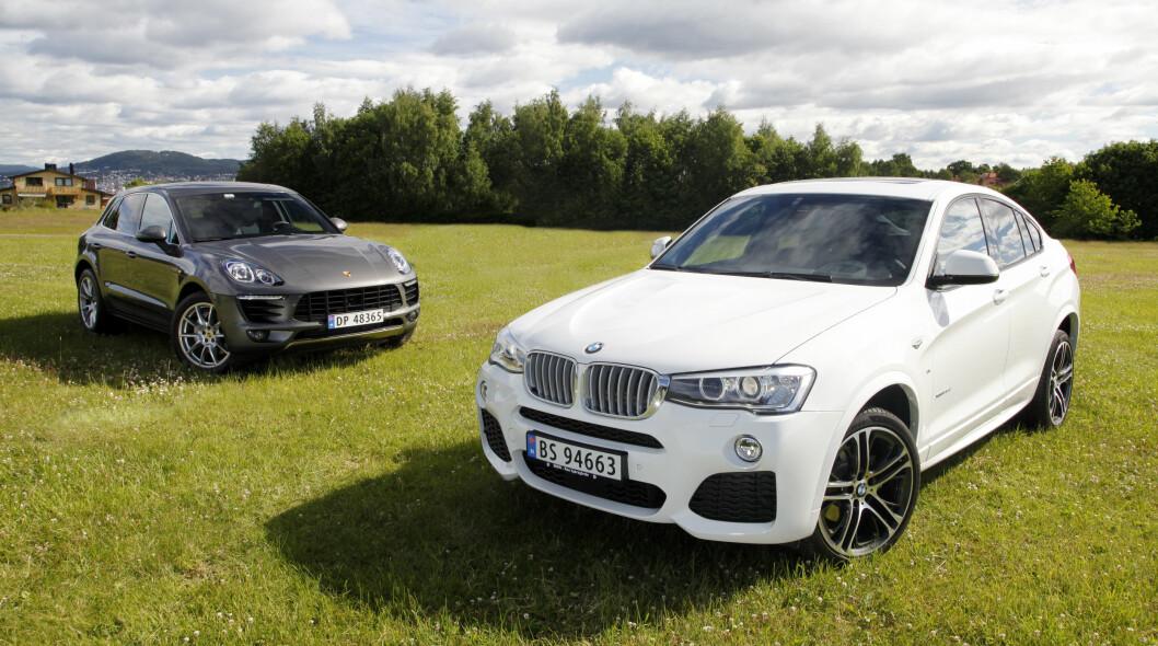 <strong><B>TØFFE LILLEBRØDRE:</strong> </B> Porsche Cayenne og BMW X6 har begge fått nye lillebrøde: Porsche Macan (t.v.) og BMW X4 skal ta opp kampen i et stadig økende SUV-marked. Foto: Espen Stensrud / Autofil