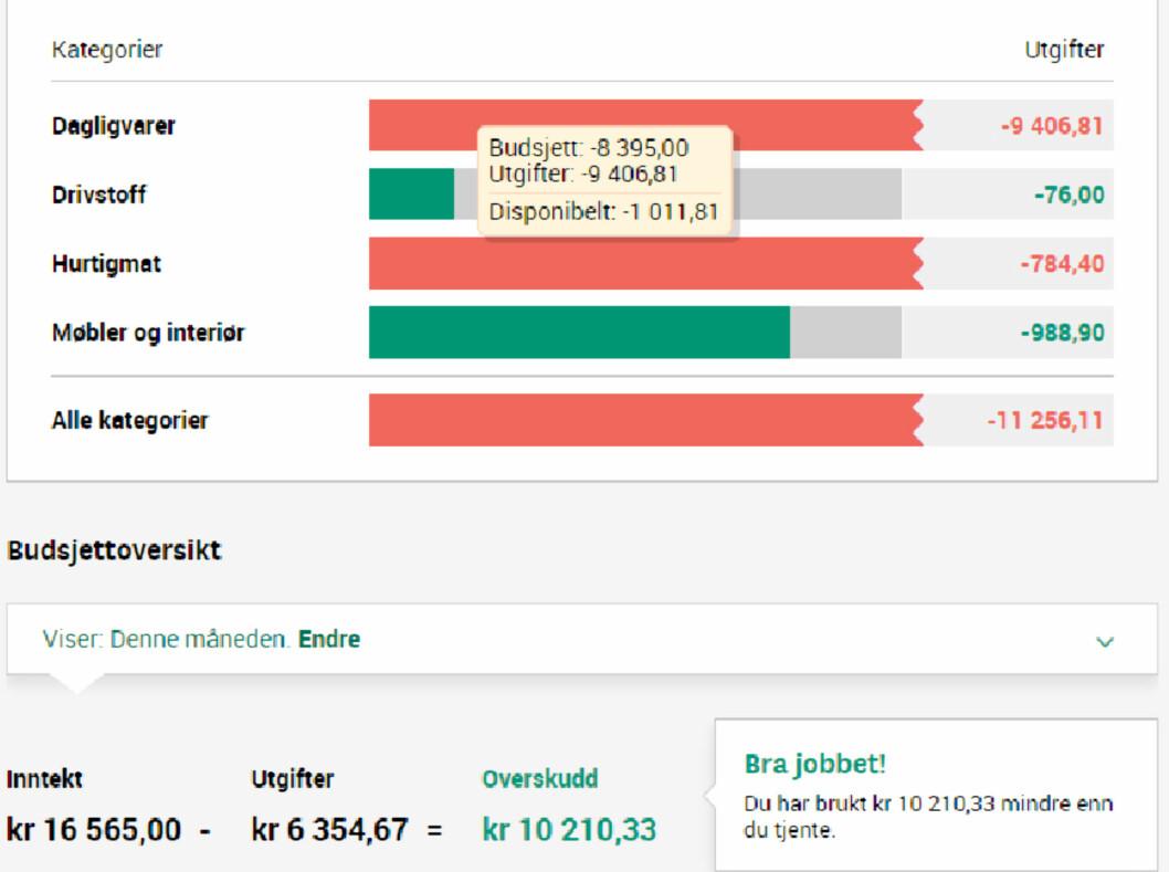<strong><b> OVERSKUDD:</strong> </b> Slik ser det ut i nettbanken til Skandiabanken når du regnskapet ditt går i overskudd.   Foto: SKJERMDUMP SKANDIABANKEN