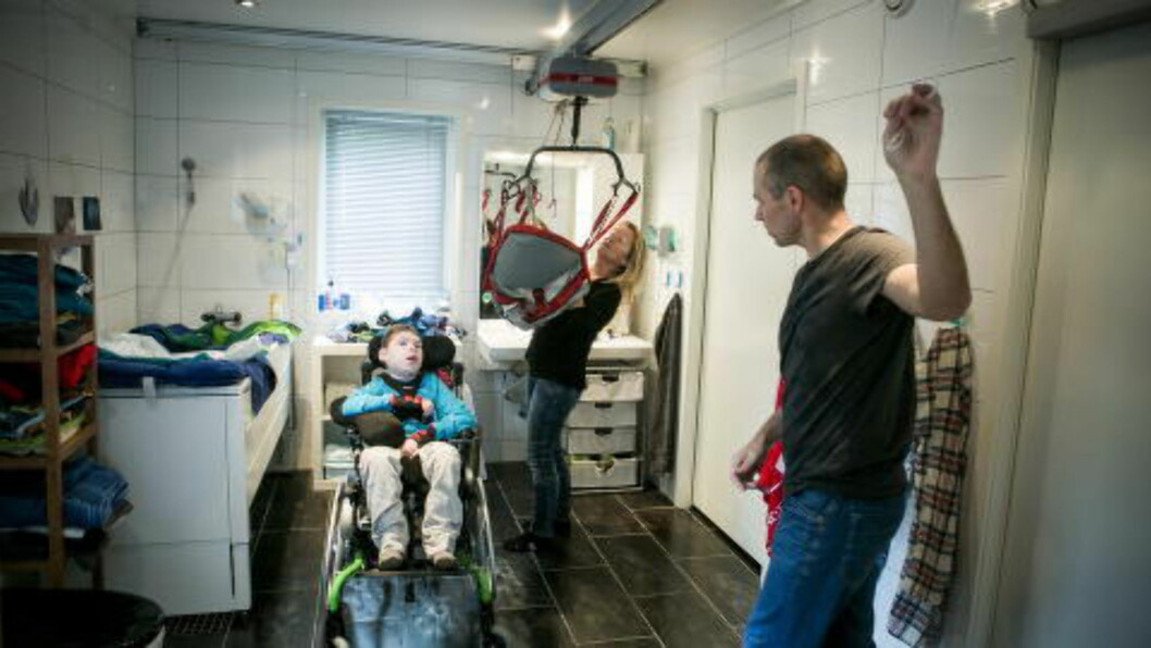 <strong>SPESIALBYGGET BAD:</strong> Familiens hus på Frogner i Akershus er tilpasset Olivers behov. Foto: Christian Roth Christensen