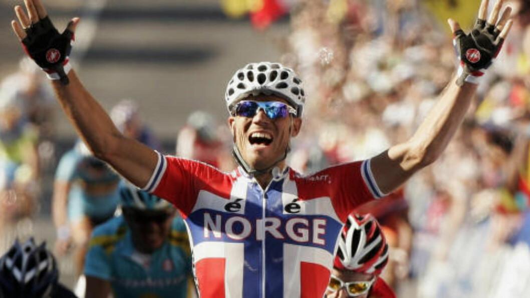 <strong>HØYDEPUNKTET:</strong> Thor Hushovd valgte seg VM-tittelen som karrierens høydepunkt. Foto: REUTERS/Brandon Malone / NTB SCANPIX