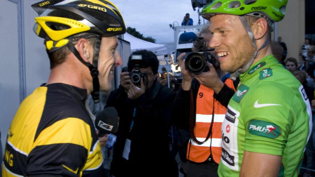 KOMPIS: Fredag annonserte Thor Hushovd at han legger opp etter høstens VM. Noen timer senere ble han hyllet av Lance Armstrong. Foto: Bjørn Sigurdsøn / SCANPIX