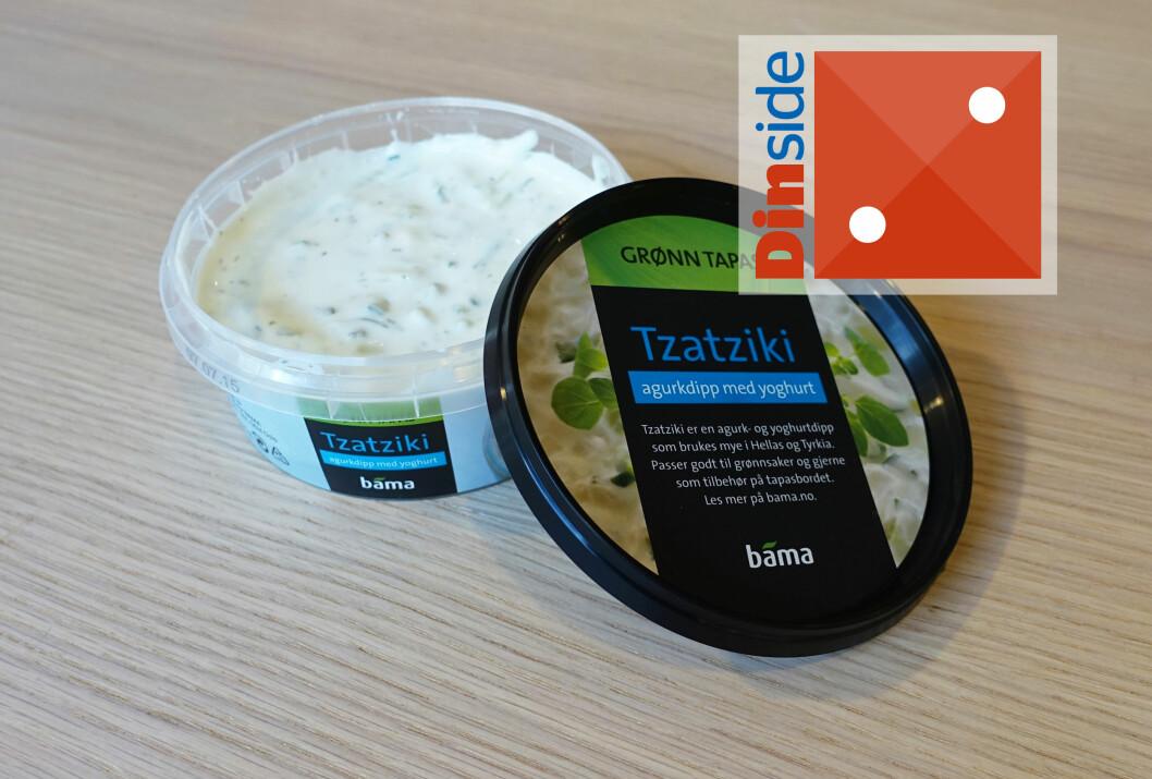 <strong><b>FETEST:</strong></b> BamasTzatziki inneholder rapsolje, slangeagurk, yoghurt, vann, eddik, sennep, hvitløk, sukker, stabilisatorer, salt, surhetsregulerende midler, konserveringsmidler, gjærekstrakt, dill. <i>Pris: 24,90 kroner for 250 gram.</i> Foto: ELISABETH DALSEG