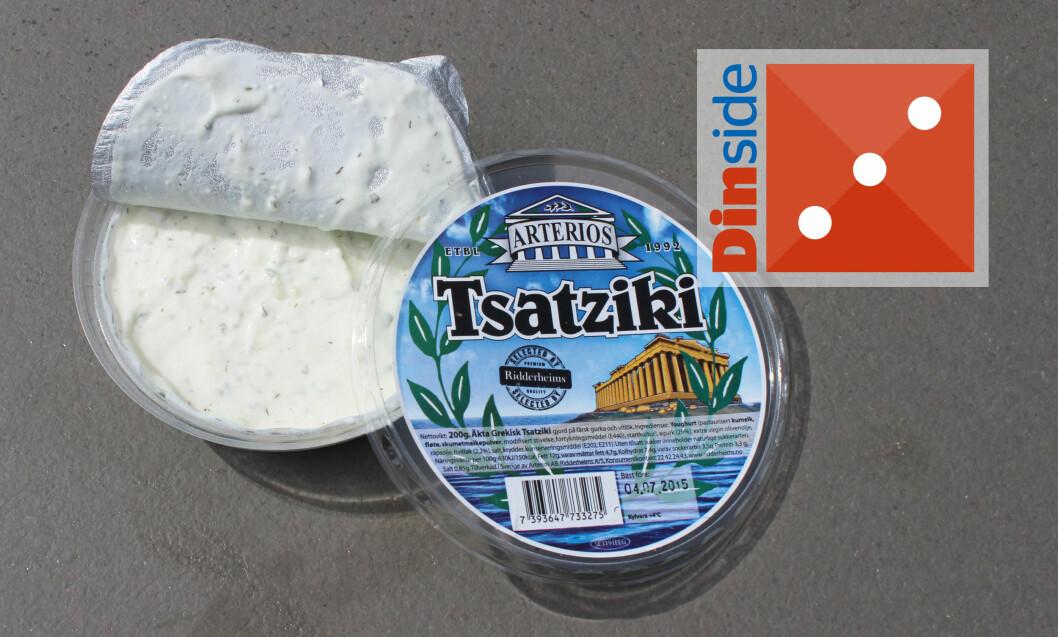 <strong><b>DYREST:</strong></b> Arterios Tzatziki inneholder yoghurt, agurk, extra virgin olivenolje, rapsolje, hvitløk, salt, krydder, konserveringsmiddel. <i>Pris: 34,90 kroner for 200 gram.</i> Foto: ELISABETH DALSEG