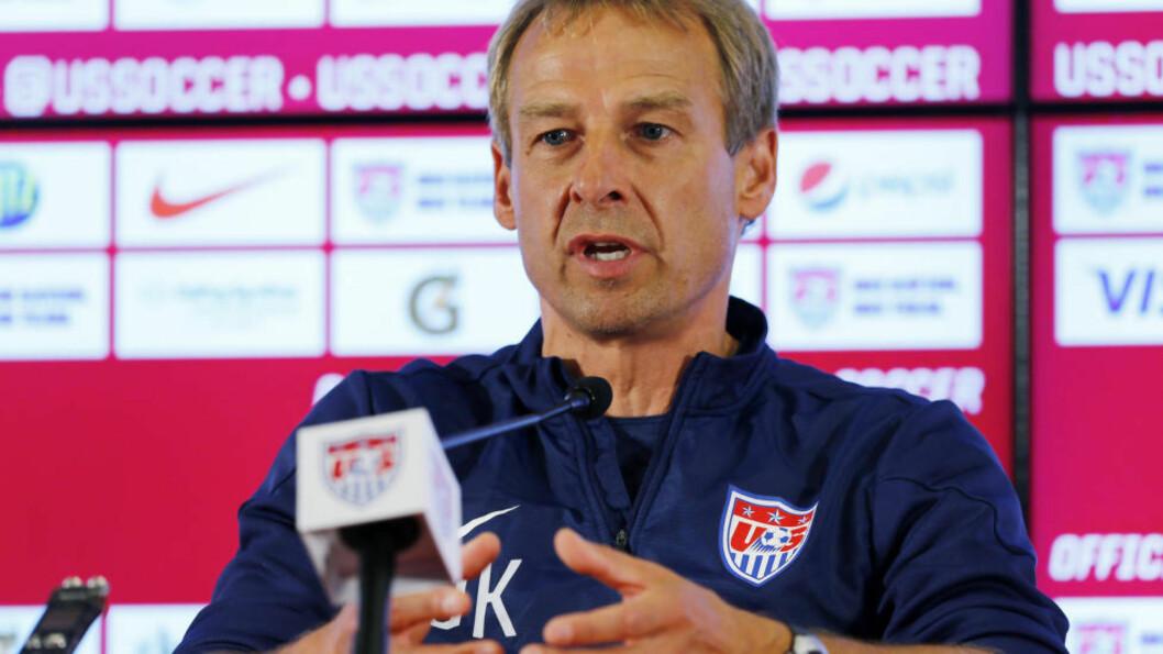 <strong>NOT PLEASED:</strong> USA-trener Jürgen Klinsmann er misfornøyd med FIFAs valg av dommer til lagets VM-kamp mot Belgia i åttedelsfinalen tirsdag. Foto: REUTERS / Ivan Alvarado / NTB Scanpix