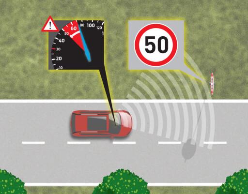 HASTIGHETSBEGRENSER En annen tilleggsfunksjon er hastighetsbegrenseren. Den skal hjelpe deg å holde fartsgrensen om du ikke følger med på skilting.  Foto: FORD
