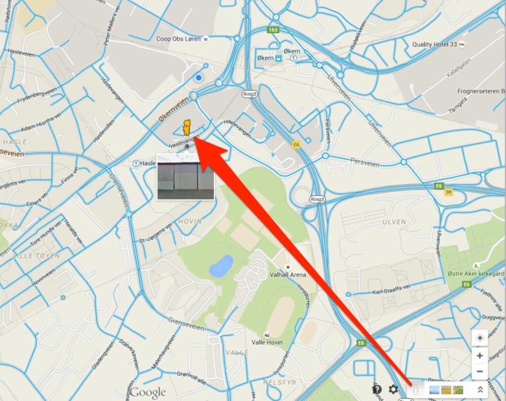 GATEBILDER: På Google Maps kan du dra den lille gule mannen over en gate for å se hvordan det ser ut der på ordentlig.