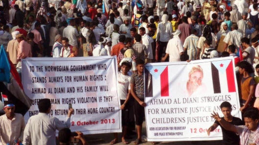 <strong>STØTTE:</strong> I Aden i Sør-Jemen har det vært demonstrasjoner til støtte for både Martine-saken og Ahmed Aldianis sak. Foto: Privat