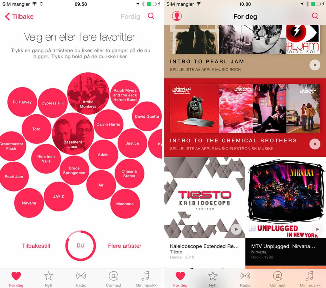 <strong>HVA LIKER DU?</strong> Gi Apple tilbakemelding på sjangre og artister du liker, og så dukker anbefalingene opp.