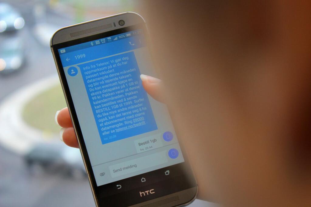 <b>STOPP OG TENK: </B>Får du en slik melding fra mobiloperatøren din, om at datakvota er oppbrukt, bør du ta grep.  Foto: OLE PETTER BAUGERØD STOKKE