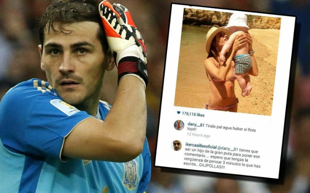 <strong>IRRITERT:</strong> Iker Casillas er en av de mest rutinerte i spansk fotball. En stygg kommentar på Instagram fikk stjernekeeperen til å slå tilbake. Foto. NTB Scanpix / skjermdump fra Instagram