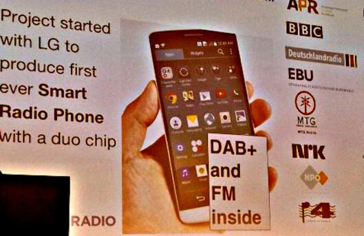 <strong><B>FØRSTE MOBIL MED DAB:</strong></B> LG skal være på vei med en telefon der både DAB+ og FM er innebygd. Foto: TORE NESET