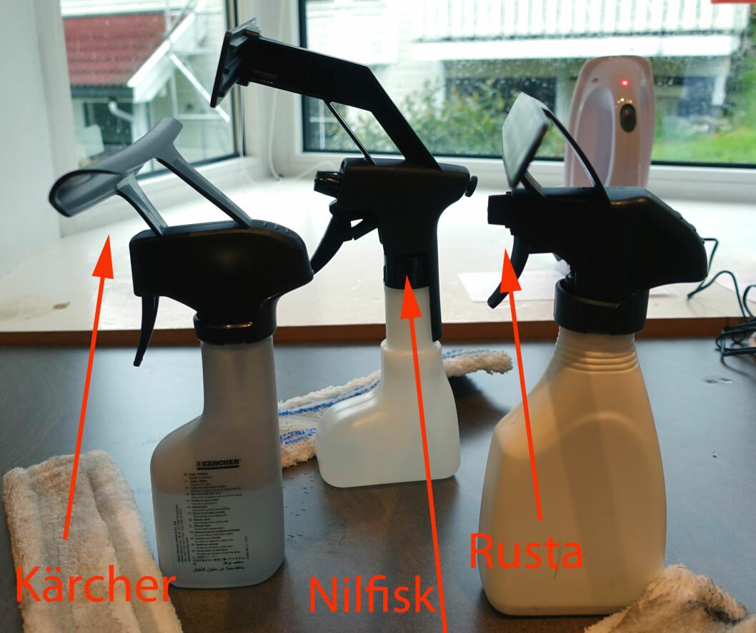 <strong><b>STOR FORSKJELL:</strong></b> Det er stor forskjell, selv på sprayflaskene. Når sprayhodet sitter lenger ute enn vaskeflaten som på Rustas flaske til høyre, blir det vanskelig ... Foto: KRISTIN SØRDAL