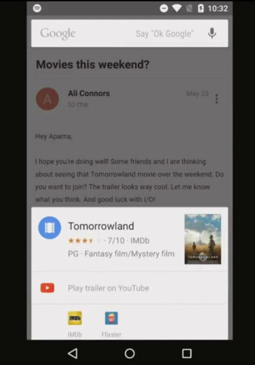 NOW ON TAP: Drar du frem Google Now mens et annet app-vindu er åpent, får du relevant informasjon i forhold til innholdet på skjermen. Foto: GOOGLE