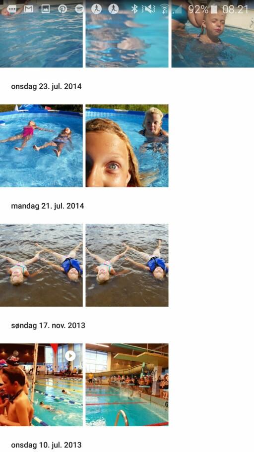 SVØMMING: Selv om bildene ikke akkurat er like, har Google automatisk klart å finne ut hvilke av dem som er av svømming.