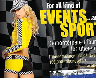 image: «Kvinnen i reklamen er iført antrekk for et motorshow»