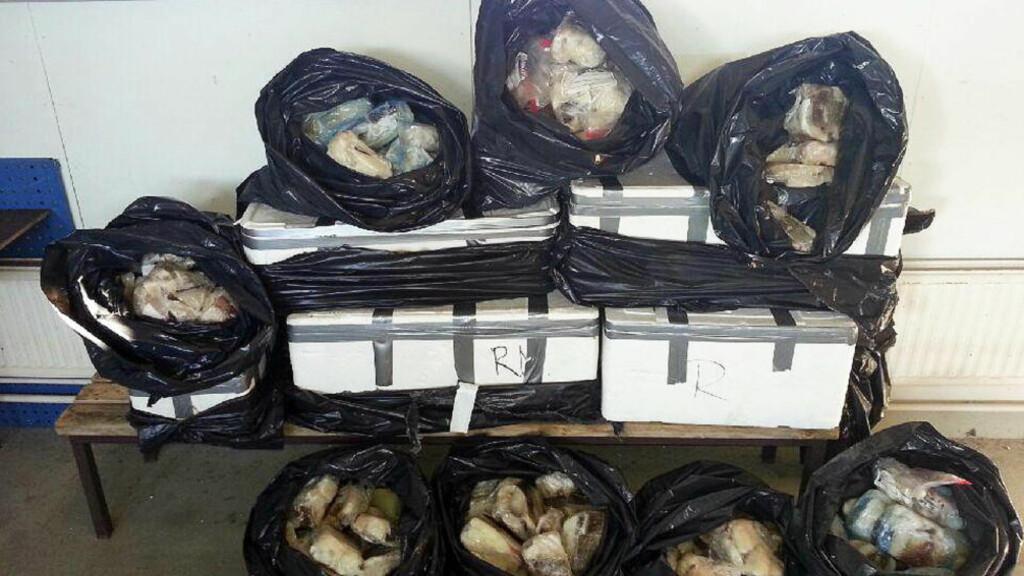 FISHY BUSINESS: Her er de 202,8 kiloene med fiskefilet som tollerne på Kivilompolo tollstasjon beslagla i går. Foto: Tollvesenet