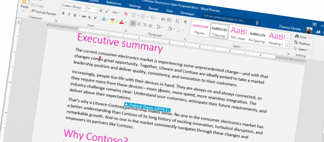 <strong><strong>NY VERSJON:</strong></strong> Nå kan alle som vil prøve ut neste versjon av Office; Office 2016. Foto: MICROSOFT